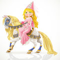 Beautiful princess on a white horse Stock Images