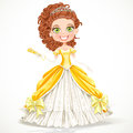 Beautiful princess yellow ball dress fan his hand Stock Image