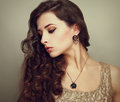 Beautiful profile of female model looking down Royalty Free Stock Photo