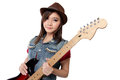 Beautiful punk rock girl with her guitar, on white background Royalty Free Stock Photo