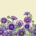 Beautiful purple African daizy flowers with exotic leaves on light yellow background. Seamless floral pattern. Royalty Free Stock Photo