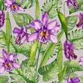 Beautiful purple orchid flowers and monstera leaves on light gray background. Seamless tropical floral pattern. Royalty Free Stock Photo