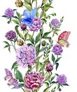 Beautiful purple peony flowers on a stems with green leaves and bright butterflies sitting on them. Seamless floral pattern. Royalty Free Stock Photo