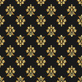 Beautiful queen seamless pattern with fleur de lys ornament elements on dark background. Royal signs in style of fashion illustrat Royalty Free Stock Photo