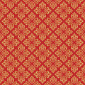 Beautiful queen seamless pattern with fleur de lys ornament elements on red background. Royal signs in style of fashion illustrati Royalty Free Stock Photo