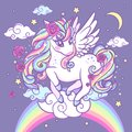 A beautiful, rainbow unicorn with stars, roses and clouds.