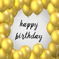 Beautiful realistic happy birthday vector greeting card with golden flying party balloons on white background