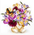 Beautiful realistic vector bouquet of flowers with eggs for east Stock Image