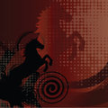 Beautiful red background with horse and swirl Royalty Free Stock Photo