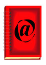 Beautiful red book with internet symbol Royalty Free Stock Images