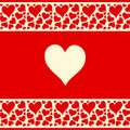Beautiful red and creamy background with love hear Royalty Free Stock Images