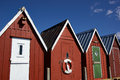 Beautiful red fishing huts on the coast faaborg denmark Royalty Free Stock Images