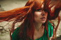 Beautiful red hair girl with deep green eyes Royalty Free Stock Photo