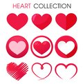 Beautiful red heart icon set to give romantic love