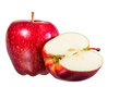 Beautiful red juicy apple on a white background Royalty Free Stock Photos