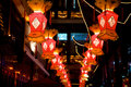 Beautiful red lanterns on chinese new year in shanghai Stock Photos