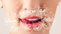 Beautiful red lips with white speech bubbles Royalty Free Stock Photo