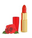 Beautiful red lipstick in golden tube and red rose Royalty Free Stock Image