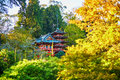 Beautiful red pagoda in Japanese garden of Golden Gate park Royalty Free Stock Photo