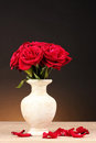 Beautiful red roses in vase Stock Photo