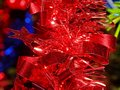 Beautiful red striped Christmas decoration close-up