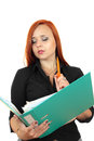 Beautiful redhead business woman with binder Stock Image