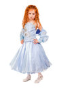 Beautiful redhead little girl wearing nice blue dress isolated on white Royalty Free Stock Images