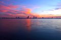 Beautiful reflection on sea during sunset a view of bahrain skyline Stock Images
