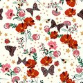 Beautiful retro blooming flowers with insect,bees,butterfly,ladybug,with vintage stars seamless pattern vector repeat for fashion