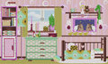 Beautiful retro girlsroom in early color Stock Photo