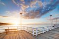 Beautiful retro pier at sunset. Gdansk Brzezno, Poland Royalty Free Stock Photo