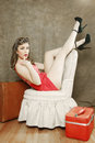 Beautiful Retro Pinup Girl in Sexy Pose Royalty Free Stock Photo