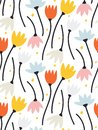 Beautiful retro Silhouette of flowers Abstract seamless pattern with leaves and floral Background vector on modern style