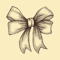 Beautiful ribbon tied in bow freehand drawing in graphic style pen and ink a Royalty Free Stock Photography