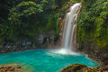Beautiful rio celeste waterfall photographed in costa rica Royalty Free Stock Image