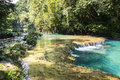 Beautiful river and pools the clear water of a its natural in a park in guatemala Royalty Free Stock Image