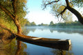 Beautiful river and yellow boat Royalty Free Stock Photo