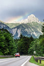 Beautiful road in alps austian mountains and rocks Stock Photo