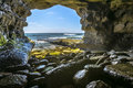 The beautiful rock cave at the sea in La Jolla California at an Royalty Free Stock Photo