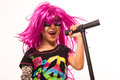 Beautiful rock star girl singing portrait of gilr Royalty Free Stock Photo