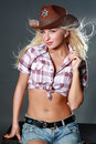 Beautiful rodeo cowgirl in cowboy hat Royalty Free Stock Photography