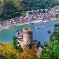 Beautiful romantic castles of Rhein river .view of Katz castle a Royalty Free Stock Photo