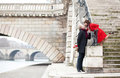 Beautiful romantic couple kissing in Paris Royalty Free Stock Photos
