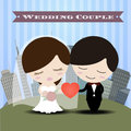 Beautiful romantic couple in love having fun with city Background Wedding Invitation Card. Royalty Free Stock Photo