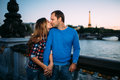 Beautiful romantic couple in Paris Royalty Free Stock Photo
