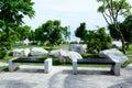 Beautiful romantic garden patio seating corner Royalty Free Stock Photo