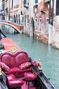 Beautiful romantic venetian scenery with gondola Royalty Free Stock Image