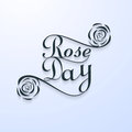 Beautiful rose day typography text for valentine week illustration Stock Photo