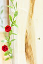 Beautiful rose made ​​of plastic on wood Royalty Free Stock Photography