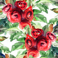 Beautiful roses flowers watercolor painting seamless pattern with Stock Photo